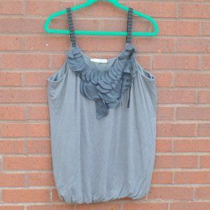 Maurices Gray Sexy Bubble Tank Top Ribbon Plus 1X